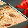 Sweet gift with nougat — Stock Photo