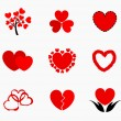 Stock vektor: Hearts icons