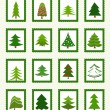 Stock Vector: Christmas trees icons