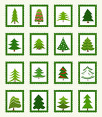 Christmas trees icons — Stock Vector