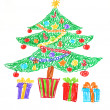 Christmas tree drawing — Stock Photo