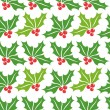Christmas holly pattern — Stock Vector