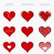 Love, passion and design hearts — Stock Vector #42905167