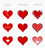 Love, passion and design hearts — Stock Vector