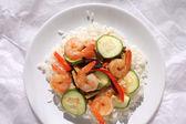 Camarones y arroz — Foto de Stock