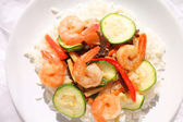 Shrimps and rice — Stock Photo