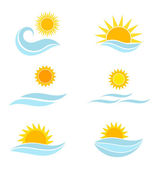 Sun and sea waves icons — Stock Vector
