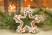 Christmas cookie snowflake — Stock Photo