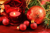 Christmas decoration of table — Stock Photo