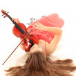 Violin player posing isolated over white background — Stockfoto