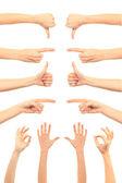 Collage di donna le mani su sfondi bianchi — Foto Stock