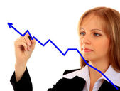 Business success growth chart. Business woman drawing graph show — Стоковое фото