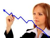 Tabla de crecimiento de éxito empresarial. mostrar gráfico dibujo de mujer de negocios — Foto de Stock