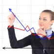 Business success growth chart. Business woman drawing graph show — Stock Photo #21105077
