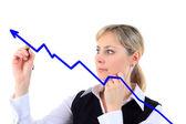业务成功增长图表。业务的女人绘图图形显示 — 图库照片