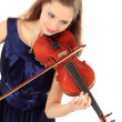 jolie fille avec violon sur un blanc — Photo