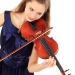 roztomilá dívka s housle na bílé — Stock fotografie