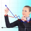Business success growth chart. Business woman drawing graph show — Stock fotografie