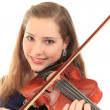 Cute girl with violin on a white — Stockfoto