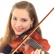 Foto Stock: Cute girl with violin on a white