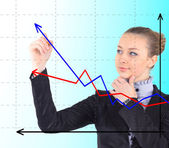 Business success growth chart. Business woman drawing graph show — Zdjęcie stockowe