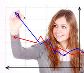 Business success growth chart. Business woman drawing graph show — Stok fotoğraf