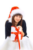 Christmas Santa hat isolated woman portrait hold christmas gift. — Stock Photo