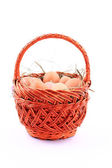 Eggs and basket isolated on white background — Stock Photo