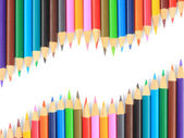 Close up of color pencils with different color over white backgr — Stockfoto