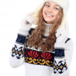 Beautiful woman in warm clothing on white background — Стоковая фотография