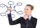 Businesswoman draws diagram with marker — Stock Photo