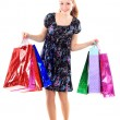 Foto Stock: Beautiful woman with a shopping bags. Isolated on white.