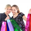 Two beautiful woman with a shopping bags. Isolated on white. — Zdjęcie stockowe