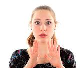 Porträtt av en ung kvinna som isolerad på vit bakgrund — Stockfoto