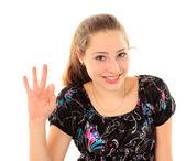 Beyaz arka plan üzerinde izole bir genç kadının portresi — Stok fotoğraf