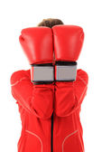 Boxer woman with red boxing gloves cover face isolated on white — Stock Photo