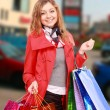 Happy woman with a shopping bags. — Stockfoto