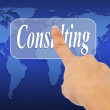 Foto Stock: Business womhand pushing consalting button on touch screen