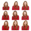 Girl emotional attractive set make faces isolated on white backg — Stock Photo