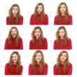 Girl emotional attractive set make faces isolated on white backg — стоковое фото #21498129