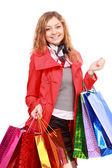 Piękna kobieta z torby na zakupy. na białym tle. — Zdjęcie stockowe