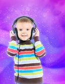 çocuk kulaklık, renkli arka plan — Stok fotoğraf