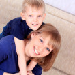 Foto Stock: Family portrait of mother and son