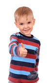 Smiling child with thumbs up sign, isolated on white — Stock Photo