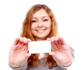 Girl in a business card - isolated over a white background — ストック写真