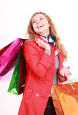 Bella donna con una shopper. isolato su bianco. — Foto Stock