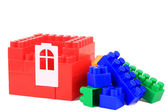 Set color plastic building blocks on white isolated background — 图库照片