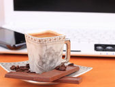 Cup of coffee with chocolate — Stock Photo