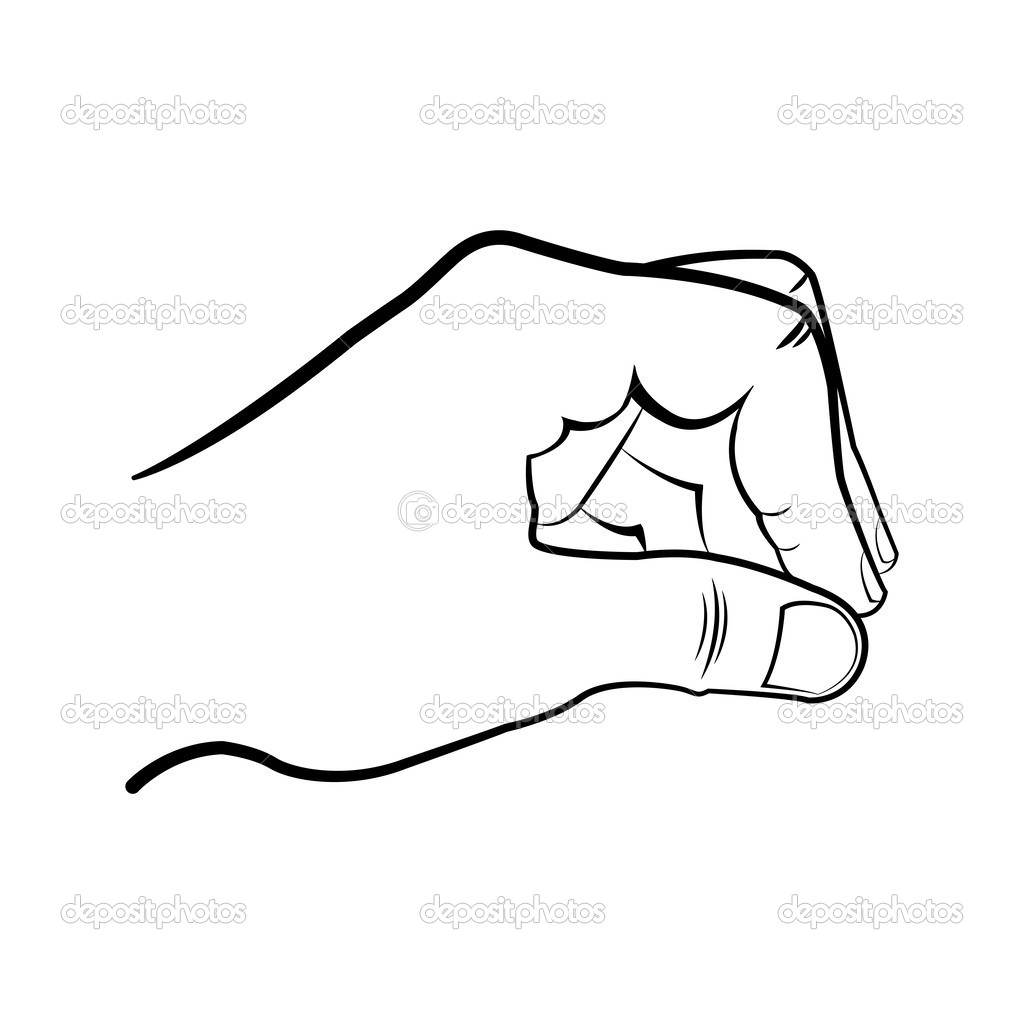 how to draw a hand gripping something