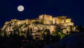 Acropolis in the moonlight — Stock Photo
